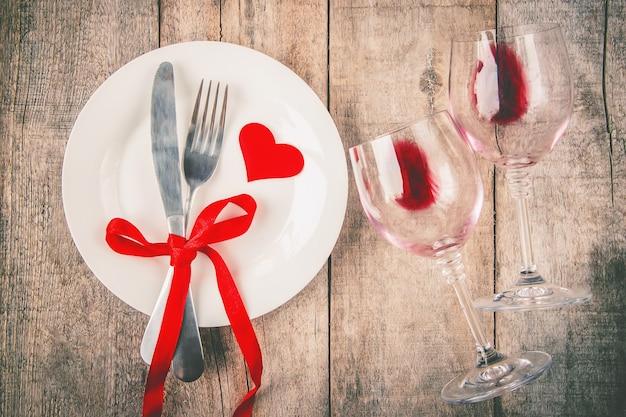 Amore di sfondo e romantico. messa a fuoco selettiva cibo