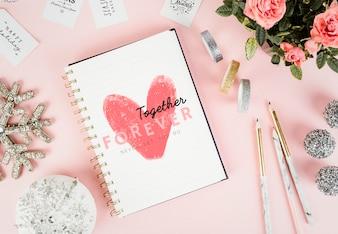 Amore schizzo in un notebook