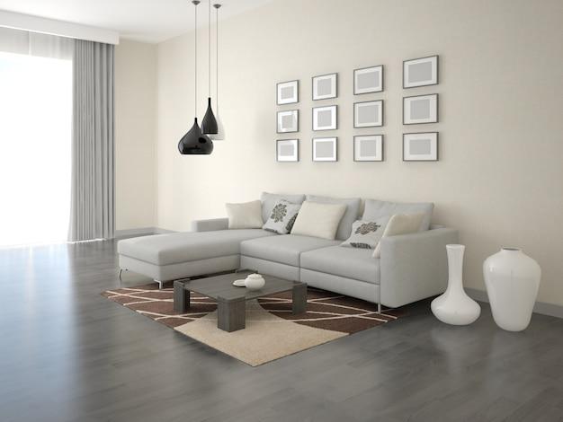 Ampio soggiorno moderno con divano ad angolo