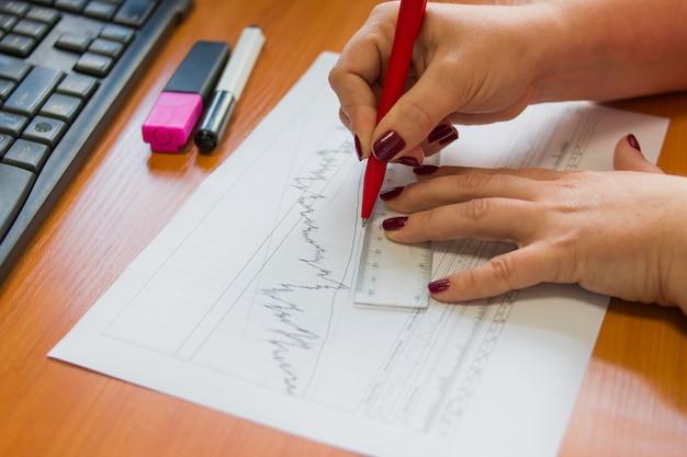 Analisi di grafici di previsione di vendite di contabilità finanziaria con scrittura a mano e con righello.