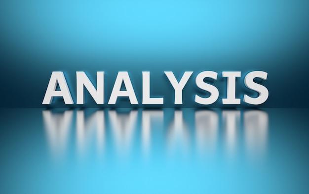 Analisi di parole scritte in grandi lettere bianche grassetto e poste sul blu