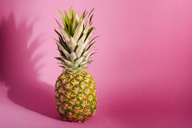 Ananas dolce fresco sulla superficie porpora di rosa pastello con ombra dura, spazio della copia di vista di angolo