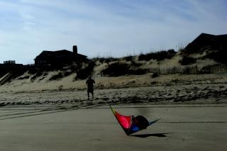 Anatra - aquilone, sabbia