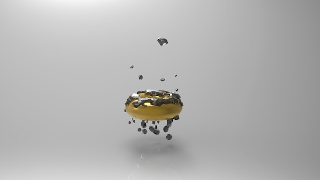 Anello d'oro galleggiante con diamanti neri su di esso su un grigio