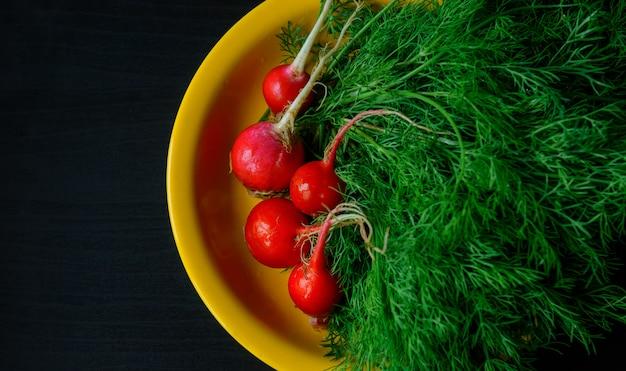 Aneto verde fresco e giovani ravanelli sul nero