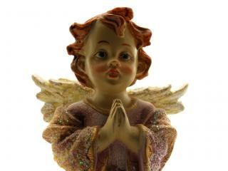 Angelo di ceramica, meditando