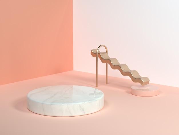 Angolo di parete scena minima rosa / arancio / crema forma geometrica astratta bianco marmo cerchio oro curva onda 3d rendering