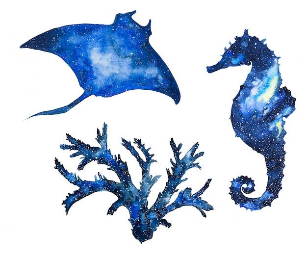 Animali marini della galassia dell'acquerello raggio di puntura dipinto a mano, cavalluccio marino e coralli.