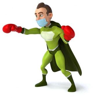 Animazione di supereroi con una maschera