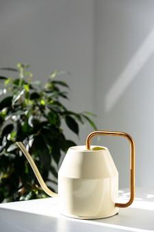 Annaffiatoio metallico bianco con beccuccio lungo e sottile e manico circolare giallo sottile sul tavolo, pianta da appartamento ficus benjamina sullo sfondo.