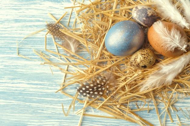 Annidi con le uova di pasqua su superficie di legno blu, vista superiore con lo spazio della copia