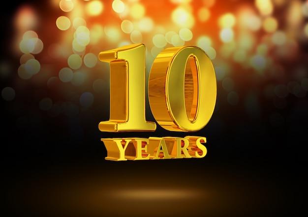 Anniversario 10 anni d'oro 3d isolato su un elegante sfondo bokeh
