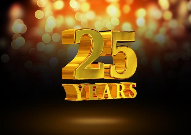Anniversario 25 anni d'oro 3d isolato su un elegante sfondo bokeh