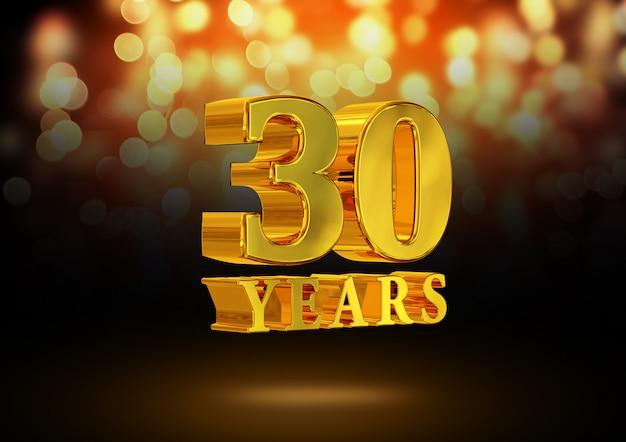 Anniversario 30 anni d'oro 3d isolato su uno sfondo elegante bokeh