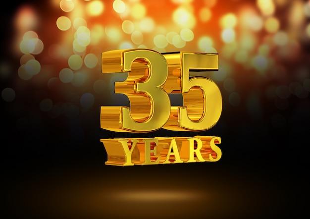 Anniversario 35 anni d'oro 3d isolato su uno sfondo elegante bokeh