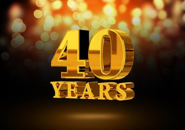 Anniversario 40 anni d'oro 3d isolato su un elegante sfondo bokeh