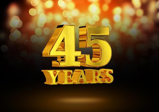 Anniversario 45 anni d'oro 3d isolato su un elegante sfondo bokeh