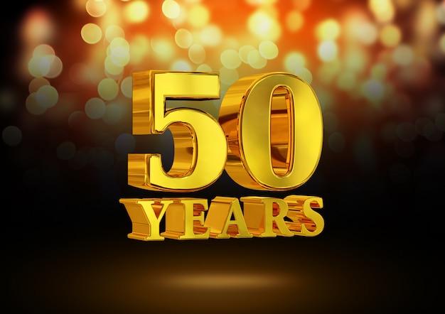 Anniversario 50 anni d'oro 3d isolato su un elegante sfondo bokeh
