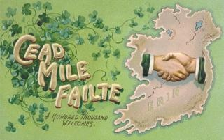 Antica cartolina di benvenuto ireland
