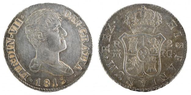 Antica moneta d'argento spagnola del re fernando vii.
