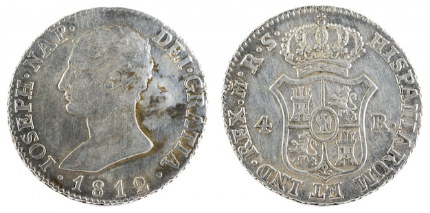 Antica moneta d'argento spagnola del re jose napoleon.