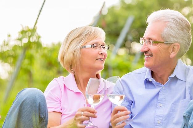 Anziani felici che mangiano picnic bevendo vino