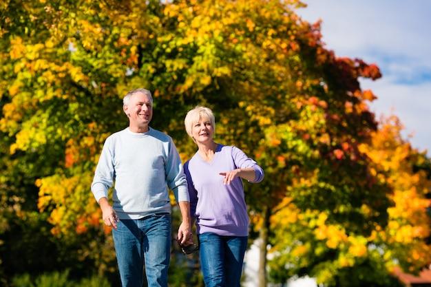 Anziani in autunno o in autunno camminando mano nella mano