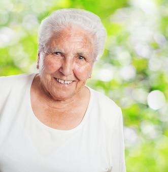 Anziano, donna, sorridente
