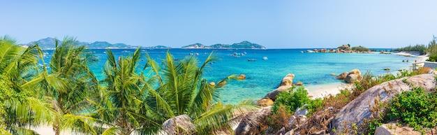 Appartato linea di costa tropicale turchese trasparente acqua palme, baia non sviluppata quy nhon nha trang, vietnam costa centrale destinazione di viaggio, cielo blu chiaro