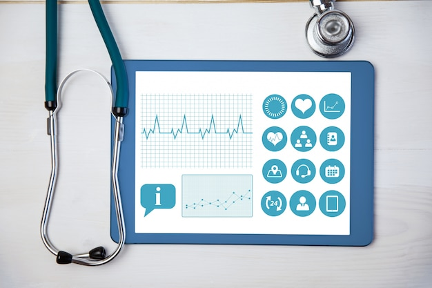 Applicazione medico tablet e stetoscopio