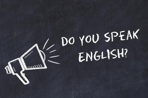 Apprendimento del concetto di lingue straniere. simbolo di gesso dell'altoparlante con frase parli inglese