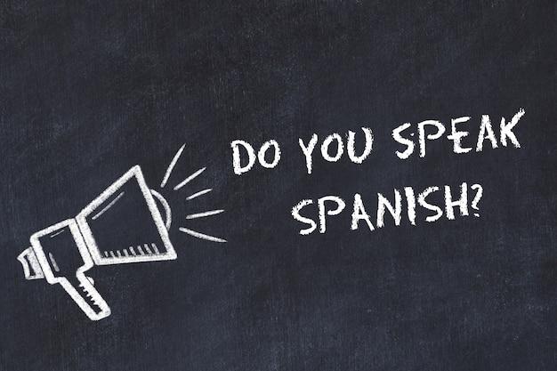 Apprendimento del concetto di lingue straniere. simbolo di gesso dell'altoparlante con frase parli spagnolo