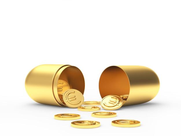 Apra la capsula medica dorata e le monete in euro sparse