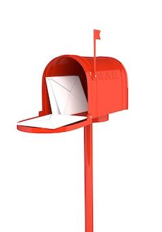 Apra la cassetta delle lettere rossa con le lettere su fondo bianco. illustrazione 3d, render
