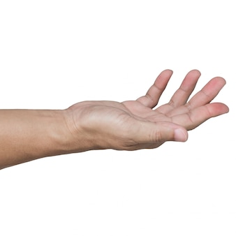 Apra la mano isolata su bianco
