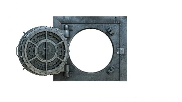 Apra la porta del caveau in banca su bianco