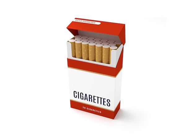 Apra la scatola del pacchetto delle sigarette su fondo bianco