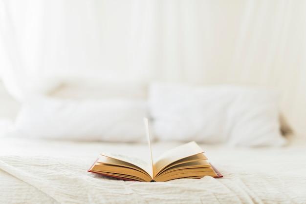Aprire il libro a copertina rigida sul letto di casa
