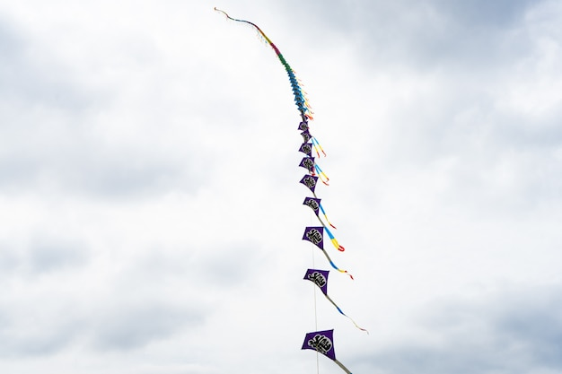 Aquiloni che volano nel cielo tra le nuvole. festival degli aquiloni