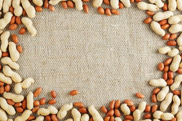 Arachidi tostate in una shell e sbucciate su uno sfondo di tessuto marrone.