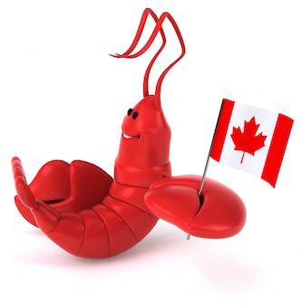 Aragosta illustrata divertente che tiene la bandiera del canada