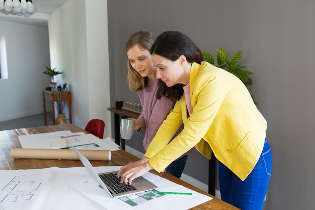 Architetto e cliente femminili contenti che per mezzo del computer portatile