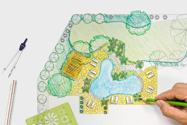 Architetto paesaggista progetto piano cortile per villa