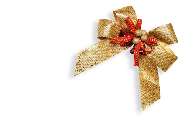 Arco del regalo dell'oro isolato su bianco
