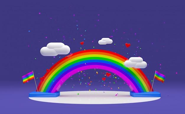 Arcobaleno 3d per la porpora di giorno di orgoglio