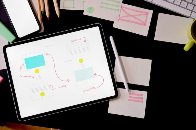 Area di lavoro del designer creativo dell'interfaccia utente