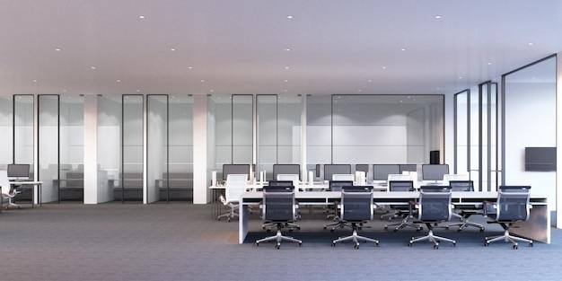 Area di lavoro dell'ufficio moderno con il pavimento di tappeto grigio e la rappresentazione bianca della sala riunioni e dello scrittorio 3d