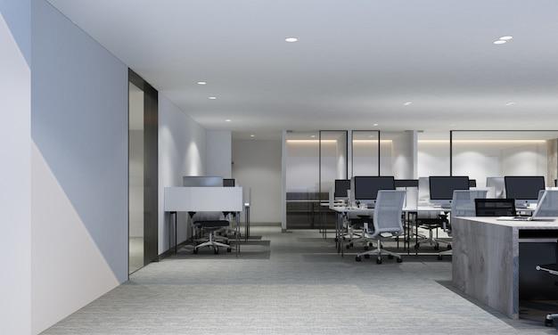 Area di lavoro in ufficio moderno con il pavimento in moquette e la rappresentazione interna 3d della sala riunioni