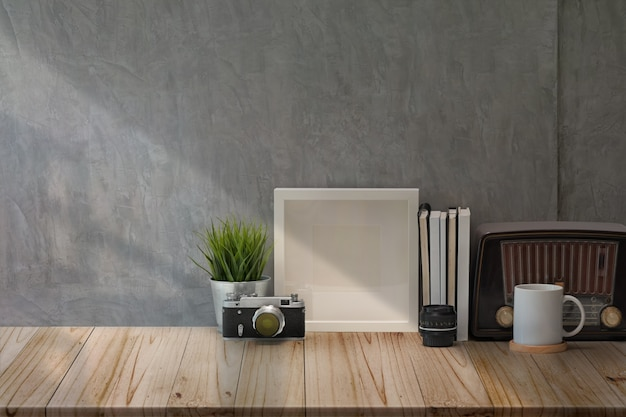 Area di lavoro loft fotografo e copia spazio