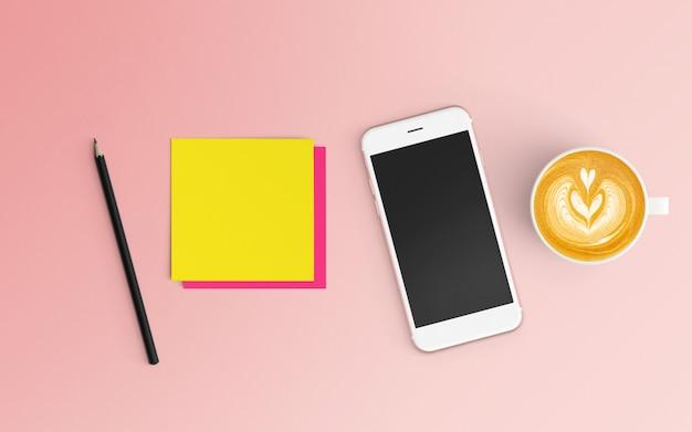 Area di lavoro moderna con tazza di caffè, blocco note e smartphone su colore rosa